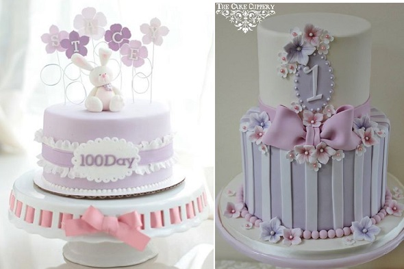 100 day baby cake by Lyon's Bakery Hong Kong left, first birthday cake by The Cake Cuppery Ire right