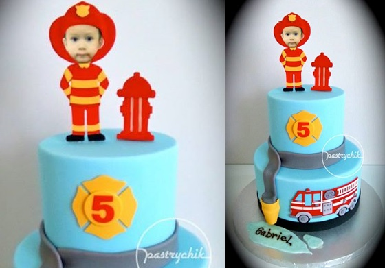 Firefighter cake for a little boy by Pastrychik