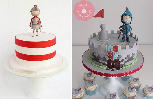 Knight in shining armour cakes for little boys by Peace of Cake left, Paula Cake Couture right