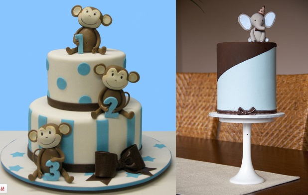 birthday cakes for little boys by Lovely Cakes left, Couture Cupcakes & Cookies right