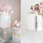 Drippy wedding cakes by The Cocoa Cakery left, Cake Ink right