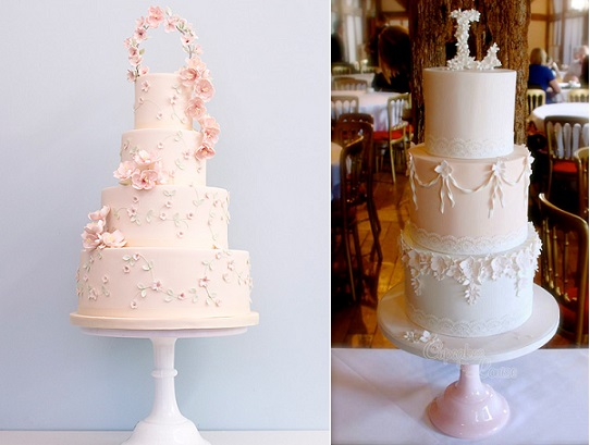 Floral arch wedding cake by Rosalind Miller left, floral monogram by Cupcakes by Louise right