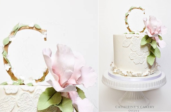 Floral monogram cake topper by Catherine's Cakery, Ottawa