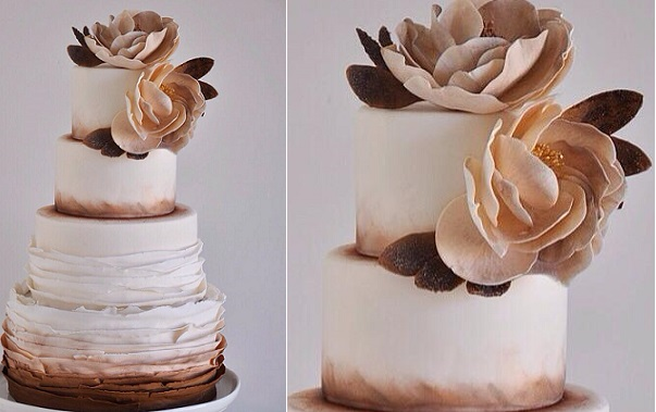 rose gold and cream wedding cake gold wedding cakes bronze amp copper cake magazine 19267