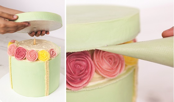 Buttercream Hatbox Cake Tutorial with Buttercream Flowers Steps 9 and 10