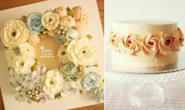 Buttercream flowers cakes by Better Cake left, by Bites With A Healthy Twist right