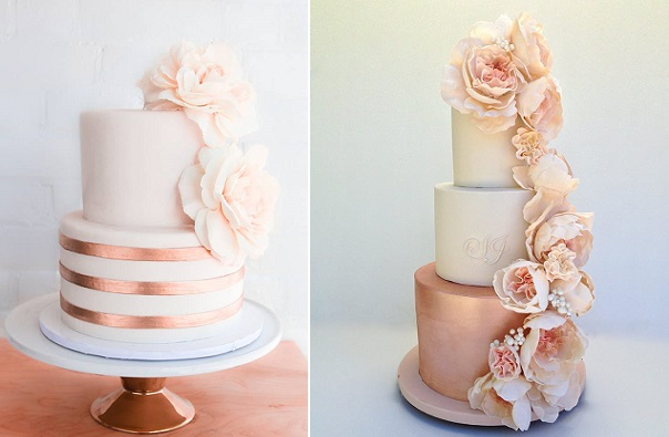 Copper And Blush Wedding Cake By Erica O Brien Left Rose Gold Right