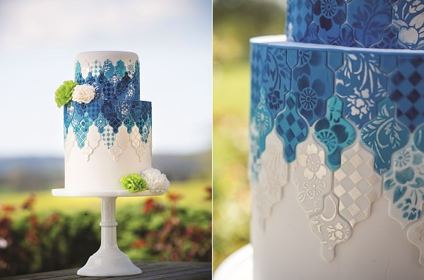 blue tiled wedding cake decorating tutorial by Lindy Smith