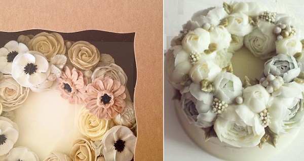 buttercream flowers cake by Eat Cake Be Merry left, Better Cake right