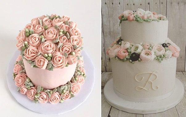 buttercream flowers smash cake by Miso Cake left, buttercream flowers wedding cake by The Cocoa Cakery right