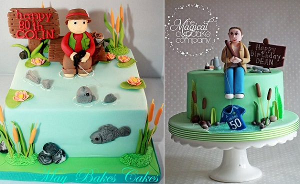 Fishing cakes for Fathers Day by May Bakes Cakes left, The Magical Cupcake Co right