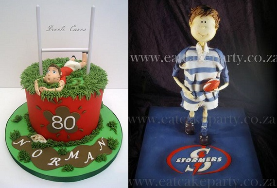Rugby cakes by DeVoli Cakes left, Eat Cake Party right