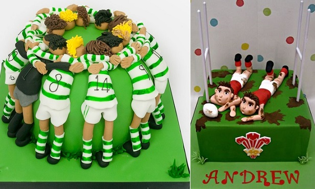 Rugby cakes by Designer Cakes left, DeVoli Cakes right