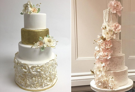antique gold wedding cake by Jay Qualls left, vintage blush and gold lace wedding cake by Rooney Girl Bakeshop