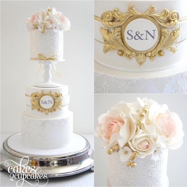 Antique Monogram Wedding Cake By Cakes 2 Cupcakes
