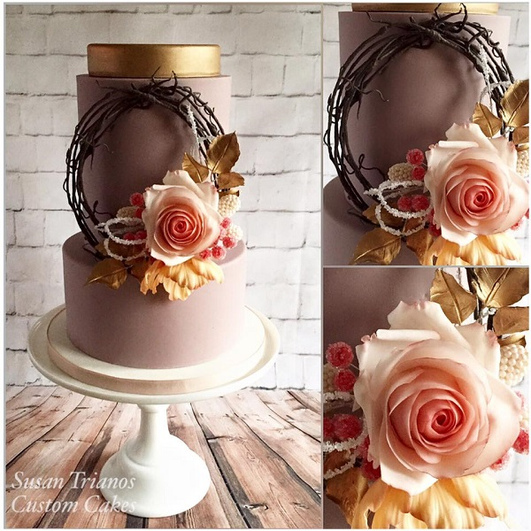 autumn wreath wedding cake by Susan Trianos Custom Cakes