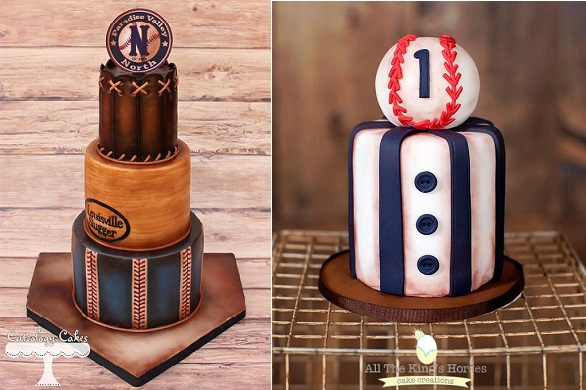 baseball cakes by Cuteology Cakes left, ATKH Cake Creations right (Out of the Box Photography)