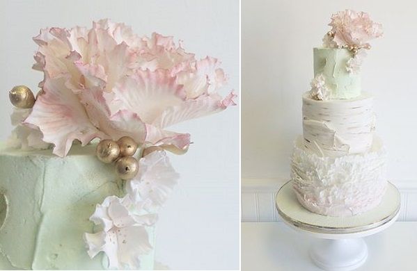 birch tree wedding cake with gold buds and berries by Jenna Rae Cakes