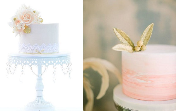 blush and gold sugar flowers and gold buds and berries by Sweet Love Cake Couture left, Sugarbelle Cakes CA right