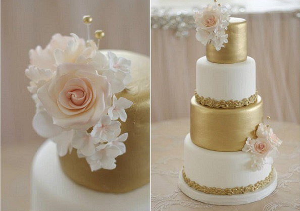 blush and gold wedding cake by Sugarbelle Cakes, CA