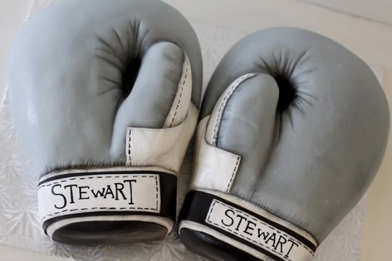 boxing gloves cake by Sweet and Saucy Shop