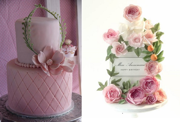 fern garland wedding cake by Cakes by Rasha left, floral garland cake by Pasteles Alma right
