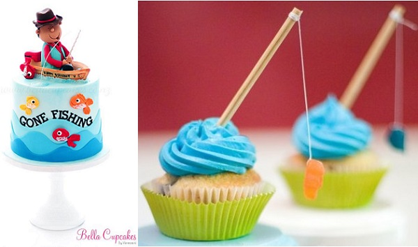 fishing cakes for Fathers Day by Bella Cupcakes left, fishing cupcakes by Nothing But Country