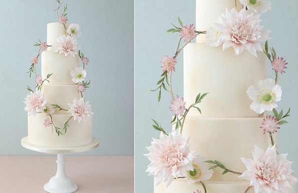 floral garland wedding cake by Zoe Clark Cake Design