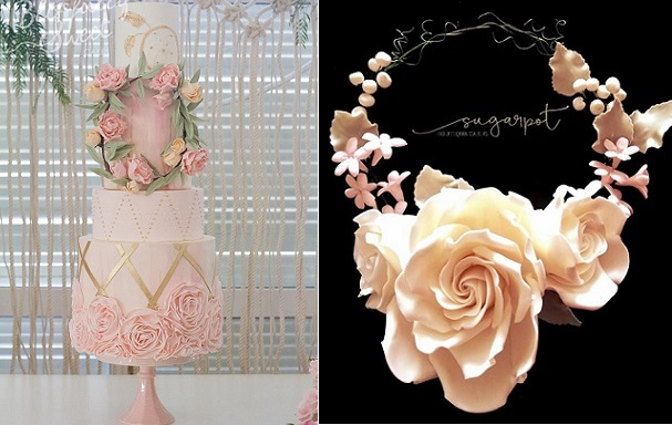 floral wreath wedding cake by Blissfully Sweet Cakes left, floral headband by Sugarpot right