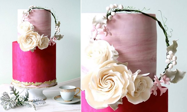 floral wreath wedding cake by Sugarpot Cake Boutique