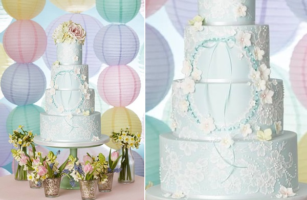 floral wreath wedding cake lace piping pale blue by Curtis and Co.