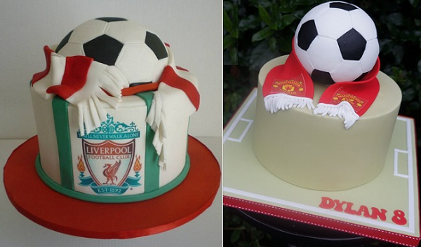football birthday cakes by BeDazzled Cake Creations left, Let's Eat Cake right
