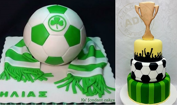 football cakes soccer cakes by K's Fondant Cakes left, Arte da Ka right
