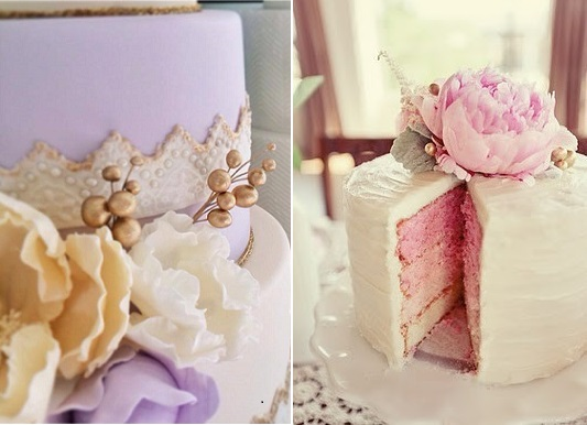 gold buds and berries with lilac and pink cakes by The Cake that Ate Paris left, The Layered Bakeshop right