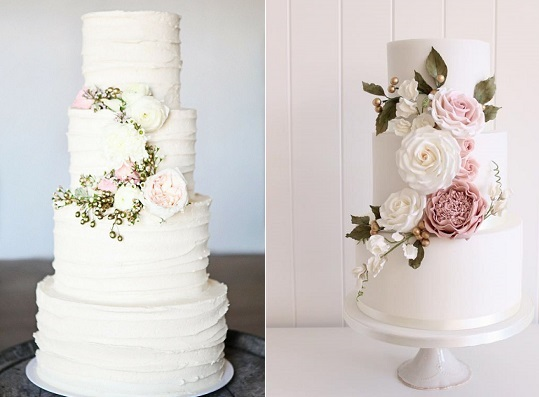 gold buds and berries with pink flowers wedding cakes by Cakeology, photo by Kat Wilson left, Poppy Pickering Cakes right