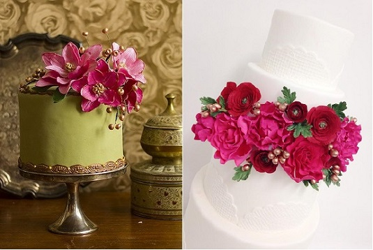 hot pink sugar flowers and gold berries and buds by Lina Veber Cake left, Sweet & Saucy right