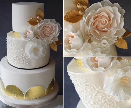 lace and gold leaf wedding cake by The Blue Door Bakery