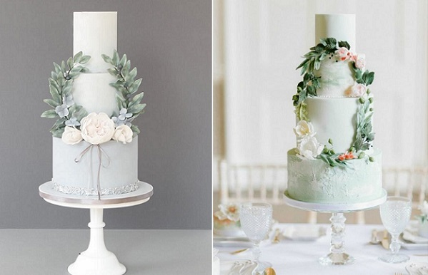 wreath wedding cakes by Pasteles Alma left, Gifted Heart Cakes, Plenty to Declare Photography right