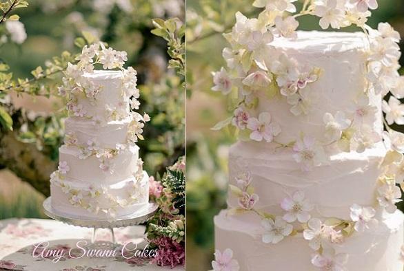 Apple blossom wedding cake boho style by Amy Swann Cakes, Jo Bradbury Photography