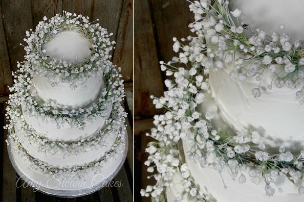 Baby's breath wedding cake by Amy Swann, boho wedding cake floral crown wedding cake gypsophilia wedding cake