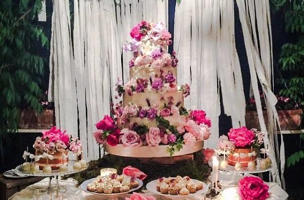 Bohemian wedding cake table by Nana & Nana