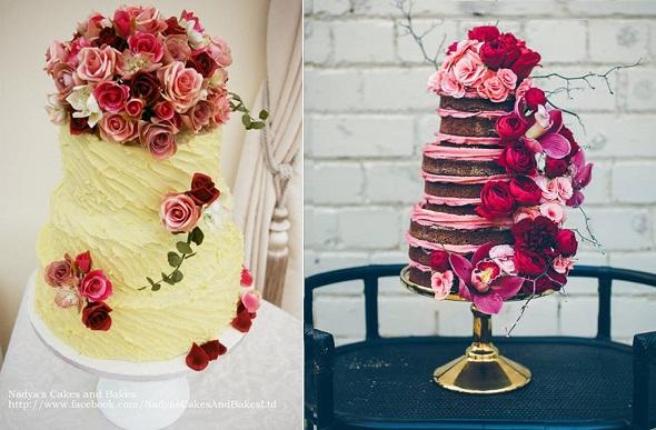 Bohemian wedding cakes Nadya's Cakes & Bakes left, De La Rosa Cupcakes, I Heart Weddings Photography right