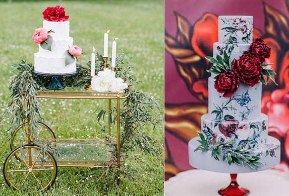 Bohemian wedding cakes in red Maria Lamb Photography left, Nadia & Co, Purple Tree Photography right