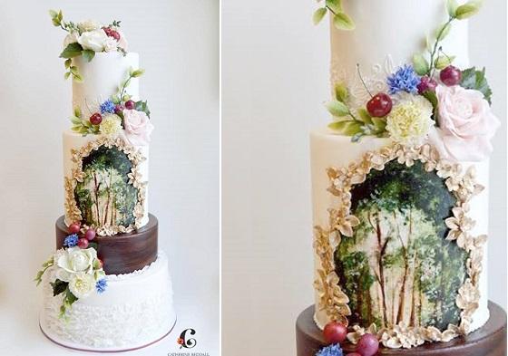 Bohemian woodland wedding cake by Catherine Beddall Edible Art