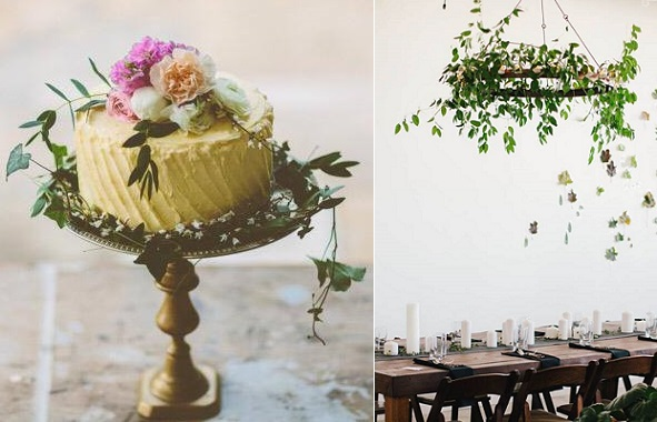 Boho cake style by The Little Cupcakery, Campbell Photography, foliage chandelier, Kate Osbourne Photography