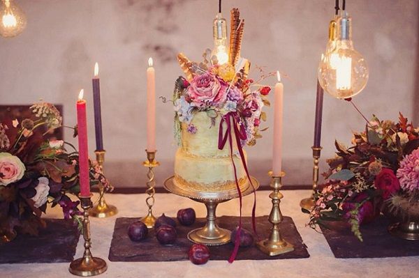 Boho wedding cake with pheasant feathers by Amy Swann Cakes, Tiree Dawson Photography