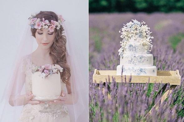 Boho wedding cakes by Amy Swann, Andrea Pennington Photographer left, Ashley Edwards Photography right