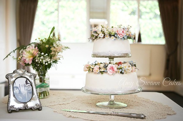 Floral crown wedding cake by Amy Swann Cakes