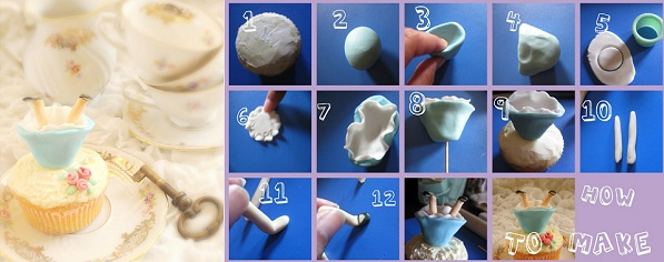 Alice in Wonderland cupcake topper tutorial by Belle Cake Topper & Mould via Bird's Party (2)