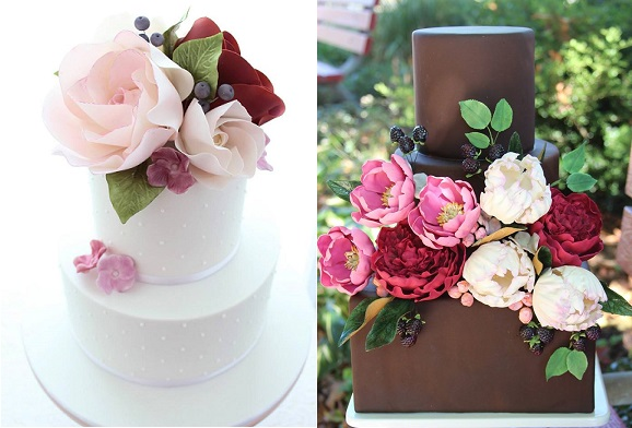 autumn berries fall wedding cakes by Cakes 2 Kreate left, Erica O'Brien right